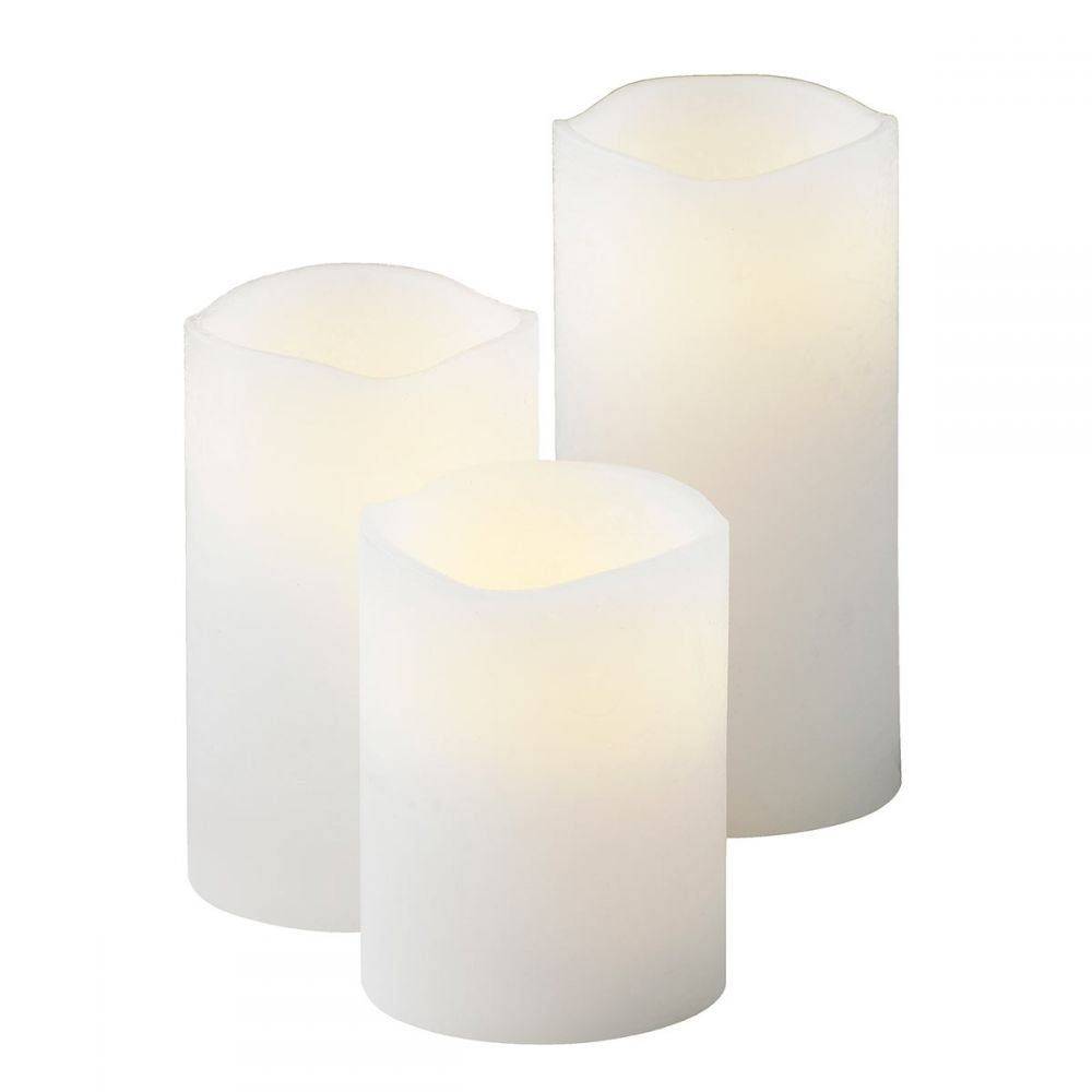 3 bougies Led blanches flamme oscillante