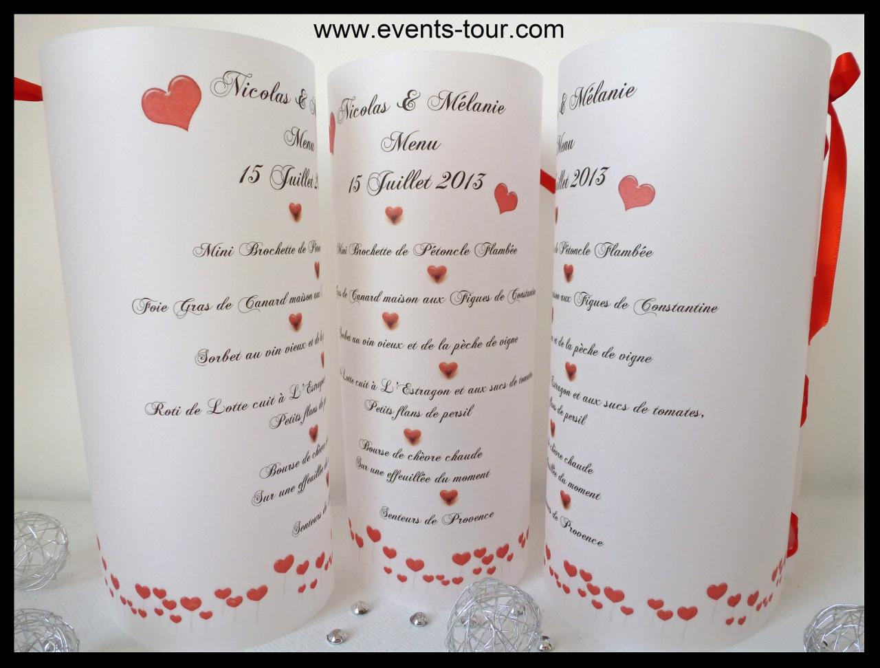 Menu photophore mariage: Red love (x1) REF/10310