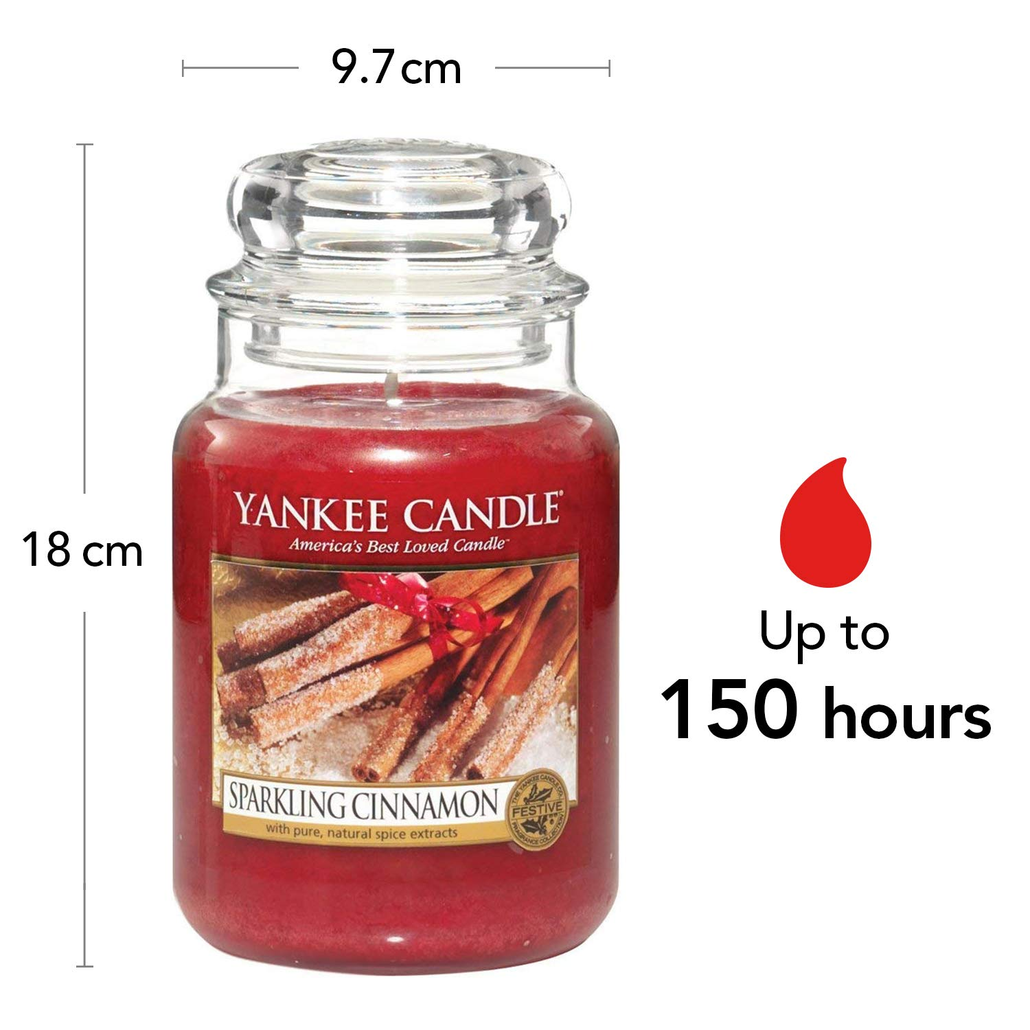 Yankee Candle bougie jarre parfumée, grande taille, Cannelle ...