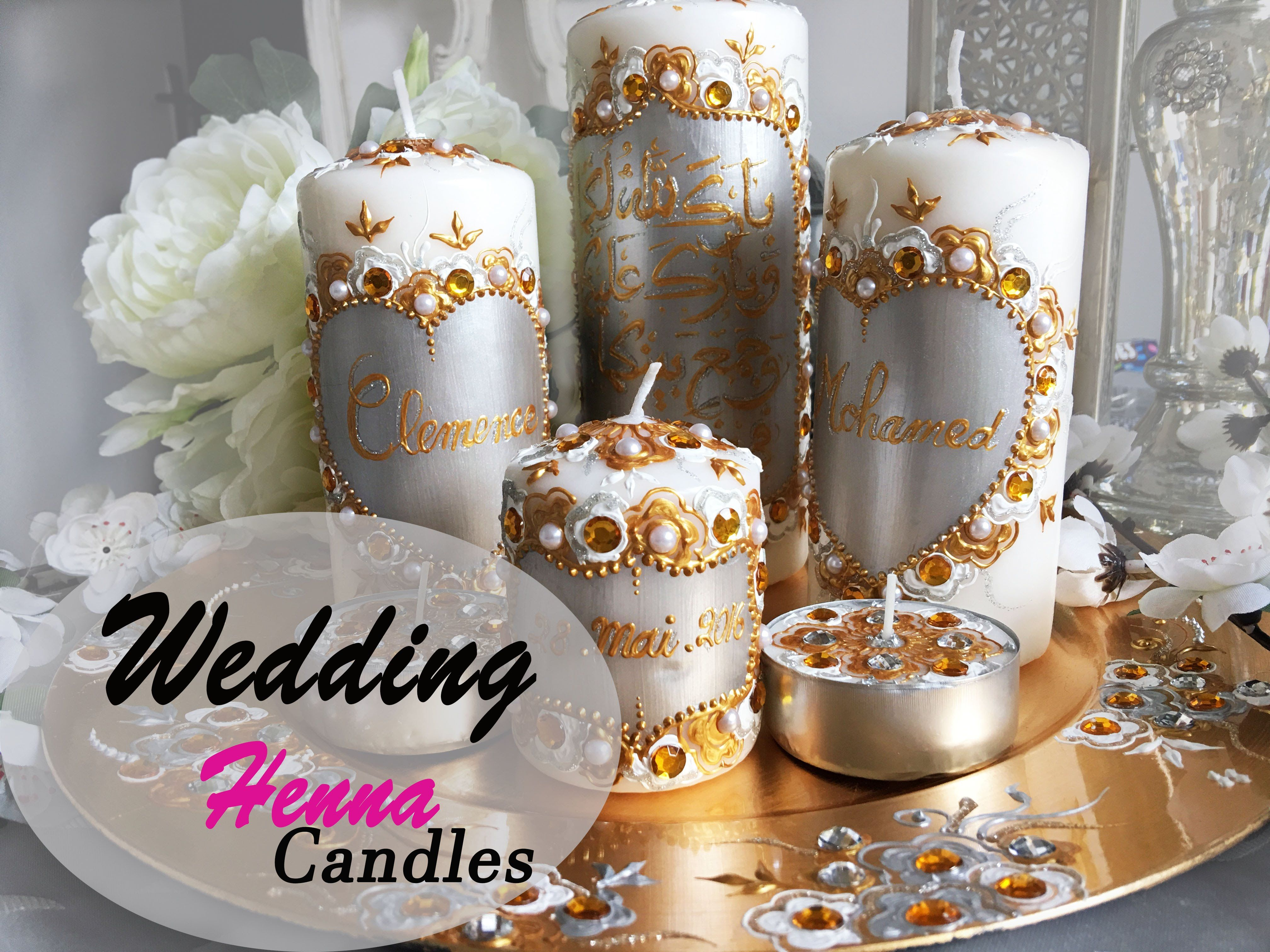 New Henna design candles..bougies personnalisées - YouTube ...