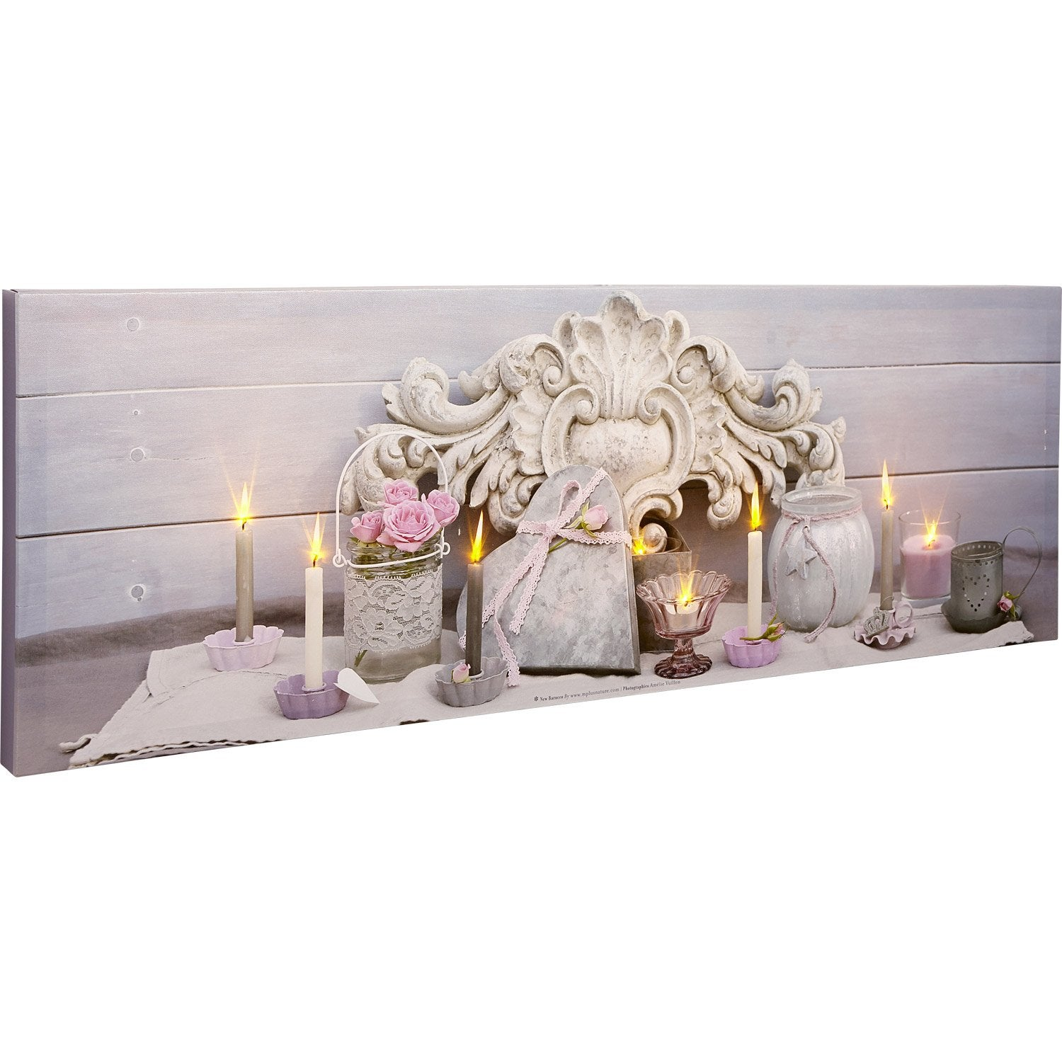 Toile LED Coeur, roses roses, bougies, pots, 90x30 cm